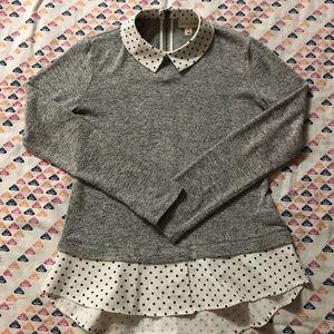 Maison Jules collared grey and polkadot shirt